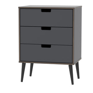 Graphite 3 Drawer Midi Chest with Black Wooden Legs