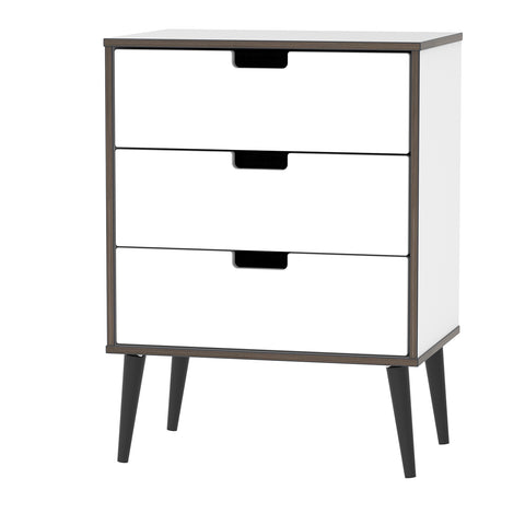 White Gloss 3 Drawer Midi Chest with Black Wooden Legs