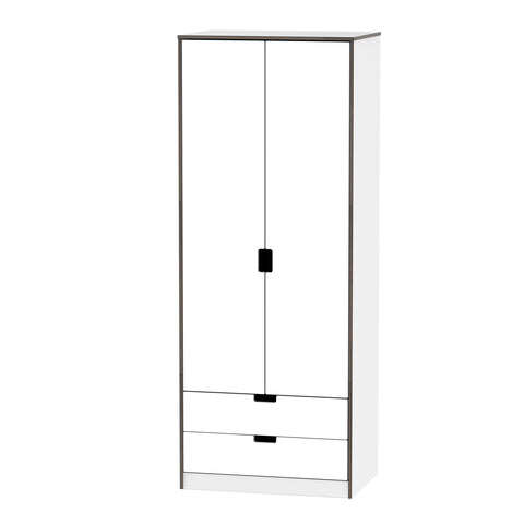 Wandsworth Wardrobe with 2 Drawers in White Gloss