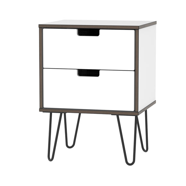 2 Drawer Bedside Cabinet in White Gloss with Hair Pin Metal Legs