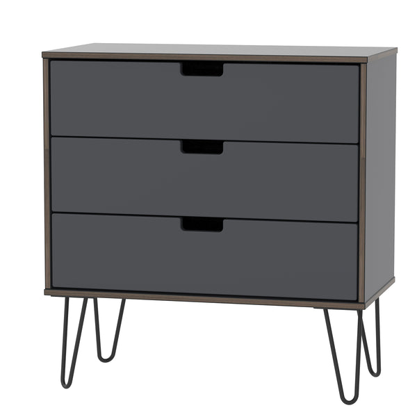 Graphite 3 Drawer Chest with Metal Hair Pin Legs