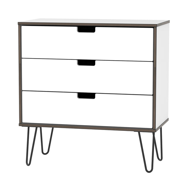 White Gloss 3 Drawer with Hair Pin Legs