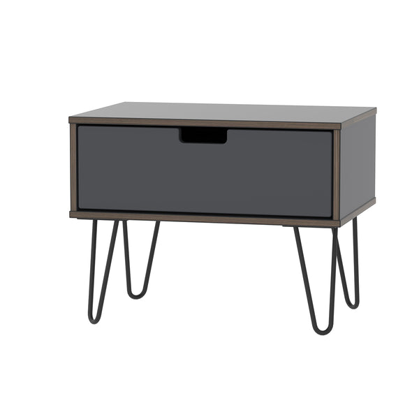 Graphite 1 Drawer Midi Chest with Hair Pin Legs