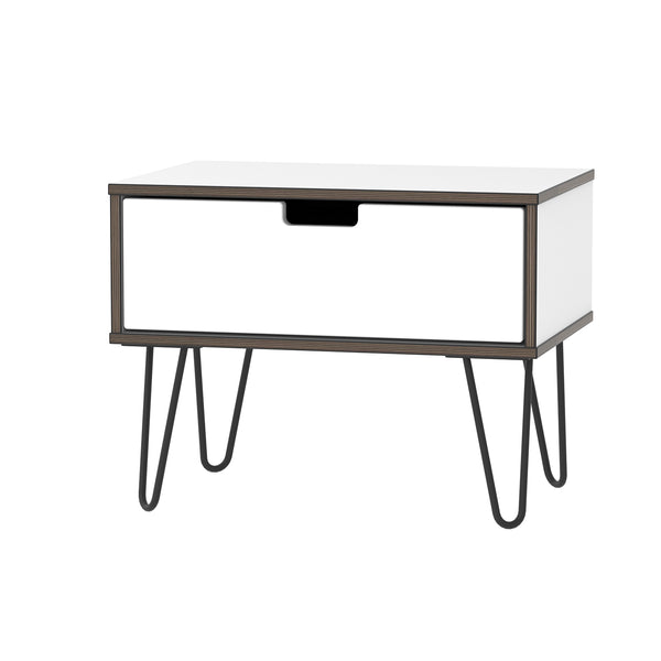 White Gloss 1 Drawer Midi Chest with Hair Pin Legs