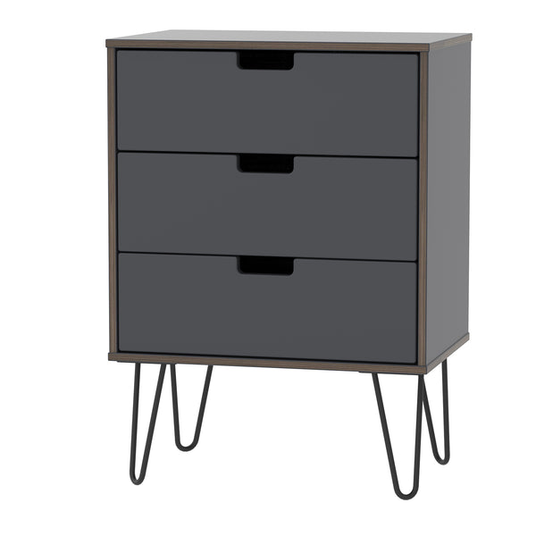 Graphite 3 Drawer Midi Chest with Metal Hair Pin Leg