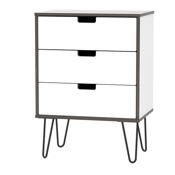 3 Drawer Midi Chest in White Gloss with Metal Hair Pin Legs