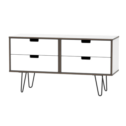 White Gloss 4 Drawer Bed Box with Metal Hair Pin Legs