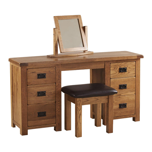 Auvergne Solid Oak Dressing Table - Double Pedestal - Better Furniture Norwich & Great Yarmouth