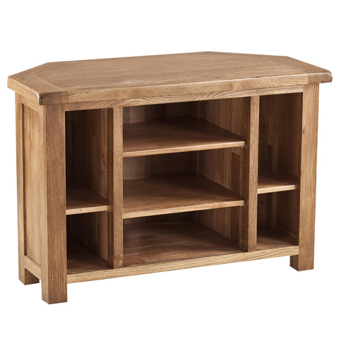 Auvergne Solid Oak TV Unit - Corner - Better Furniture Norwich & Great Yarmouth