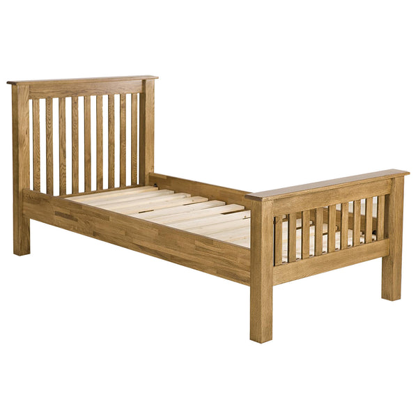 Auvergne Solid Oak Bed Frame - High Foot End
