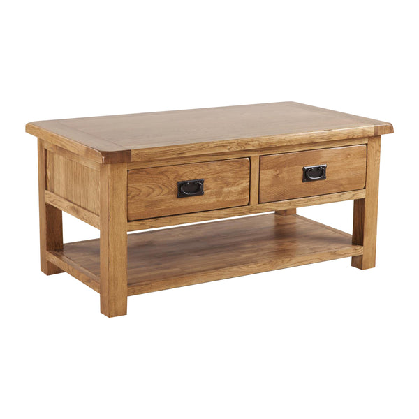 Auvergne Solid Oak Coffee Table - 2 Drawers