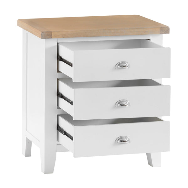 Lavenham White Painted & Oak Chest - 3 Drawer