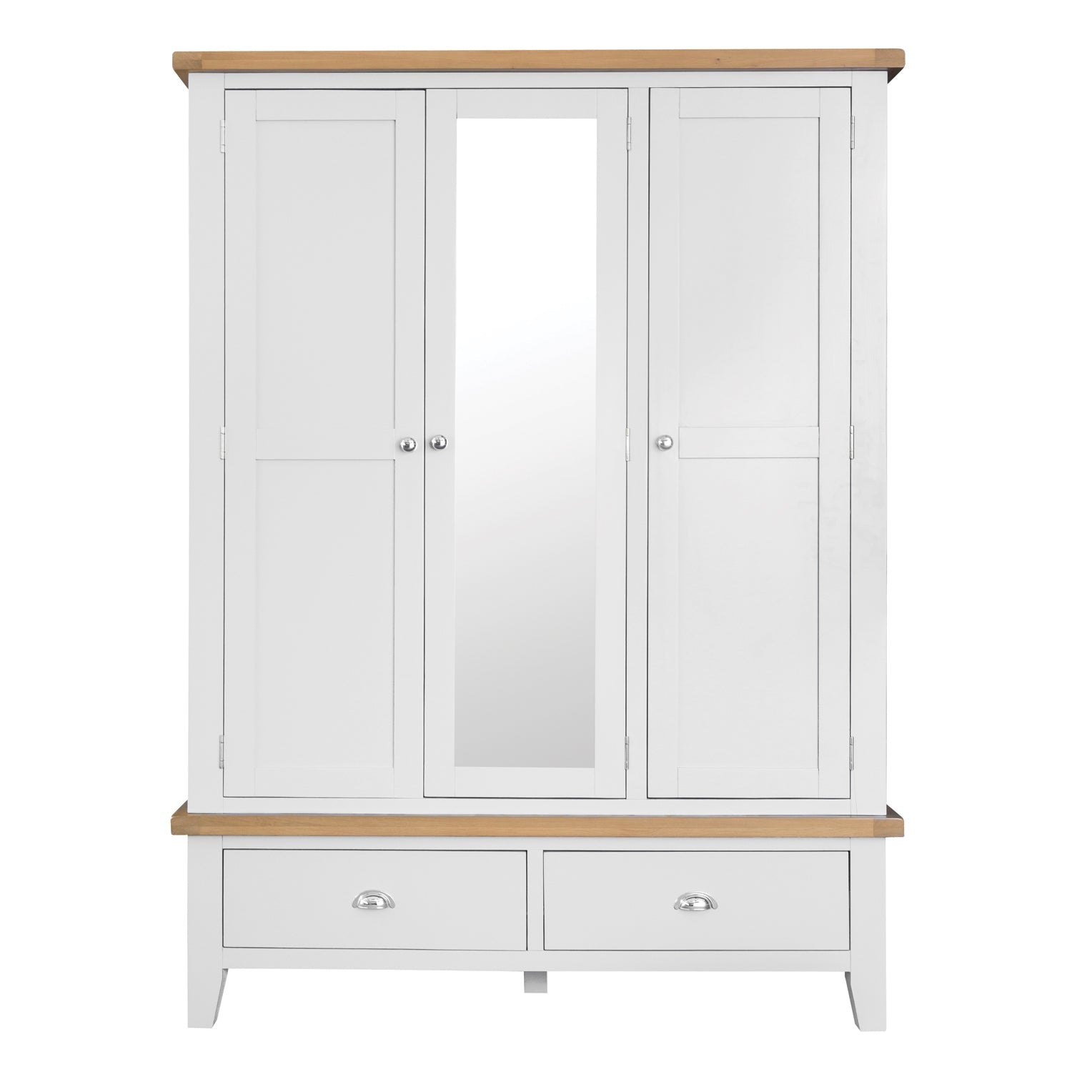 Lavenham White Painted & Oak Wardrobe - Large 3 Door