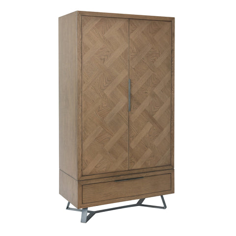 Aged Oak Parquet Design Double Wardrobe