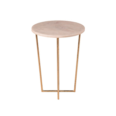 Whitby White Marble Side Table with Nickel Leg
