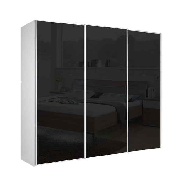 Chicago 225cm Wardrobe with Sliding Black Glass Doors