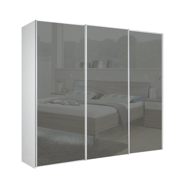 Chicago 225cm Wardrobe with Sliding Dark Grey Glass Doors