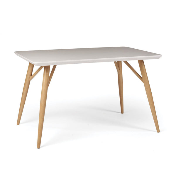 Herne Hill Dining Table, Oak Leg - White Gloss