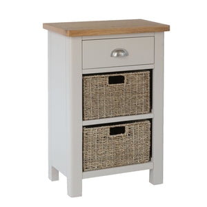Painted Side Table with Drawer & Basket Storage