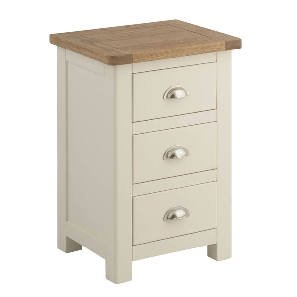 Todenham Cream Painted & Oak Bedside Cabinet - 3 Drawer Chest