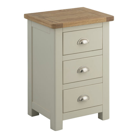 Todenham Stone Painted & Oak Bedside Cabinet - 3 Drawer Chest