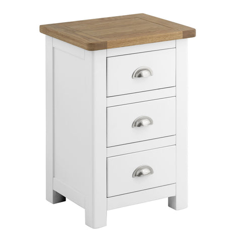 Todenham White Painted & Oak Bedside Cabinet - 3 Drawer Chest