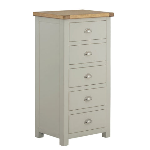 Todenham Stone Painted & Oak Chest of Drawers - 5 Drawer Tall Chest