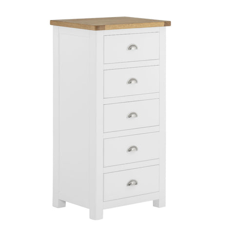 Todenham White Painted & Oak Chest of Drawers - 5 Drawer Tall Chest