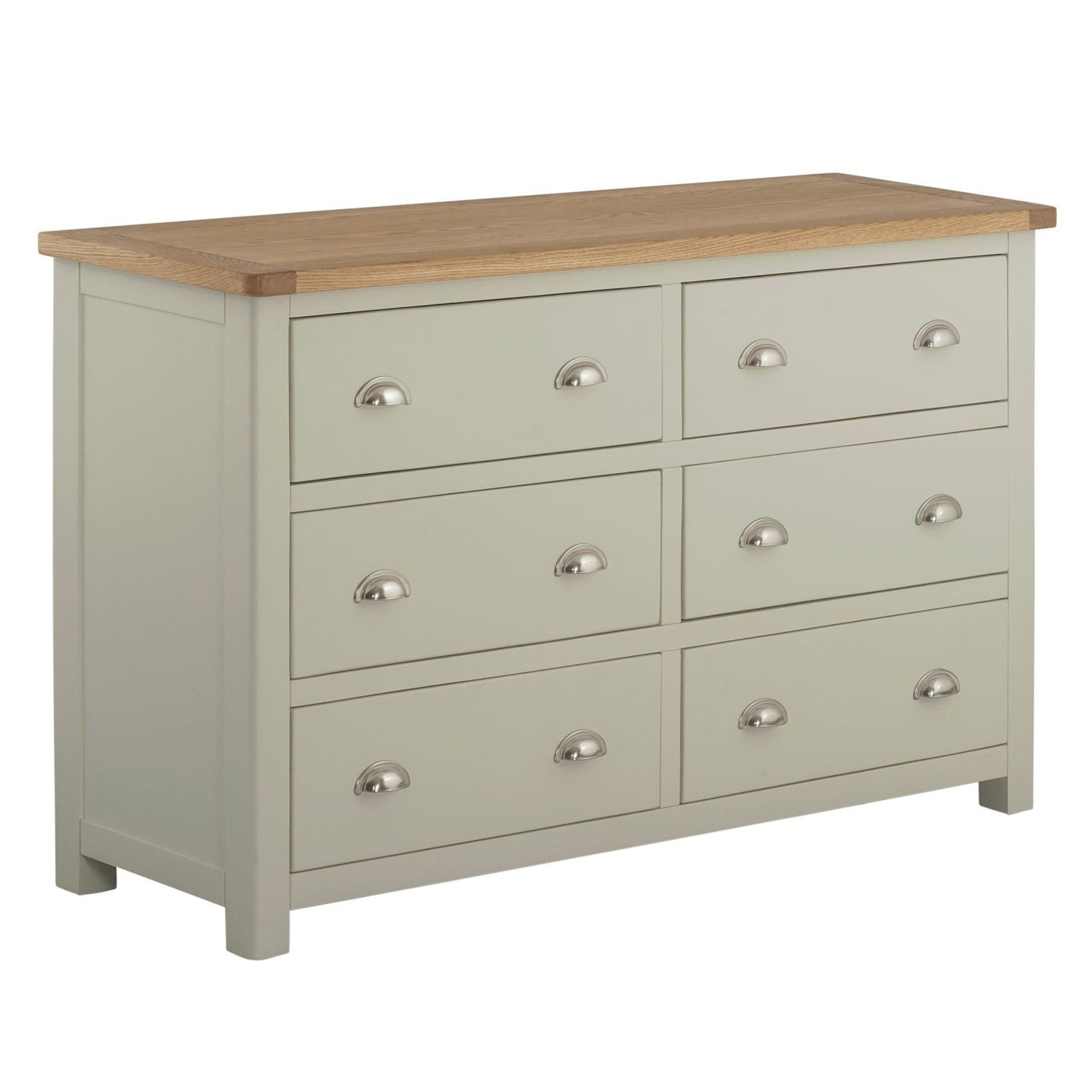Todenham Oak & Painted Chest of Drawers - 6 Drawer Wide Chest - Better Furniture Norwich & Great Yarmouth