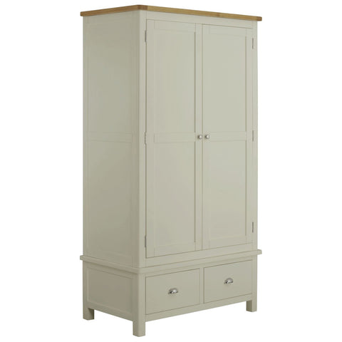 Todenham Stone Painted & Oak Wardrobe - 2 Door With 2 Drawers