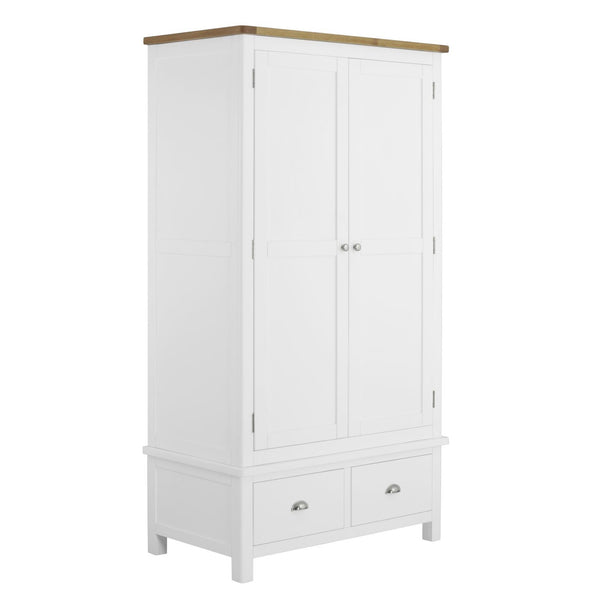 Todenham White Painted & Oak Wardrobe - 2 Door With 2 Drawers