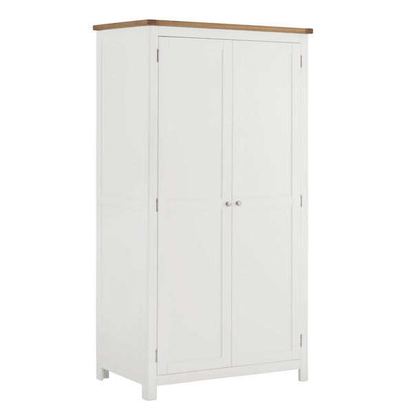 Todenham White Painted & Oak Wardrobe - Double 2 Door Full Hanging