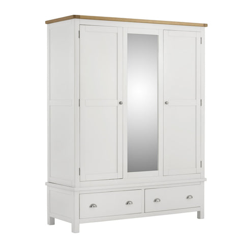 Todenham White Painted & Oak Wardrobe - 3 Door with 2 Drawers