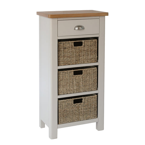 Pershore Painted Tall Side Table - 1 Drawer 3 Baskets