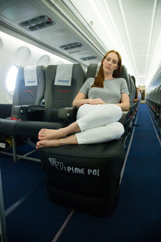 plane pal fly-tot leg rest stool airlines approved bed inflates