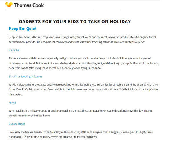 thomas cook airlines, tui, travel gadgets kids recommendations
