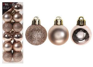 Rose Gold Baubles 24 Set