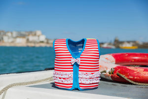 Konfidence Swim Jacket - Martha's Red Stripe & Frills - KeepEmQuiet