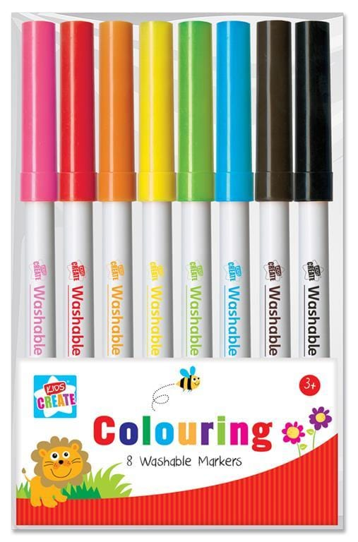8 Pack Washable Colouring Markers