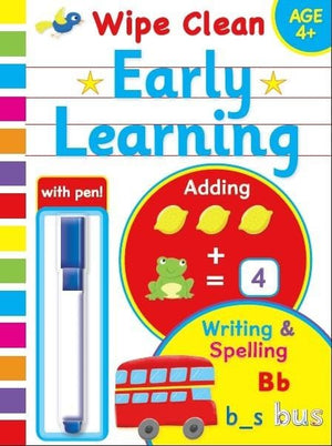 Preschool Early Learning Wipe Clean Educational Workbook 4+