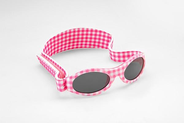 Baby Banz Sunglasses Pink Check 0-2yrs - KeepEmQuiet