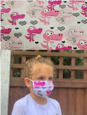 Unisex Kids Face Mask - Pink Dino