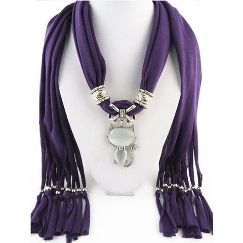Scarf with Cat Pendant