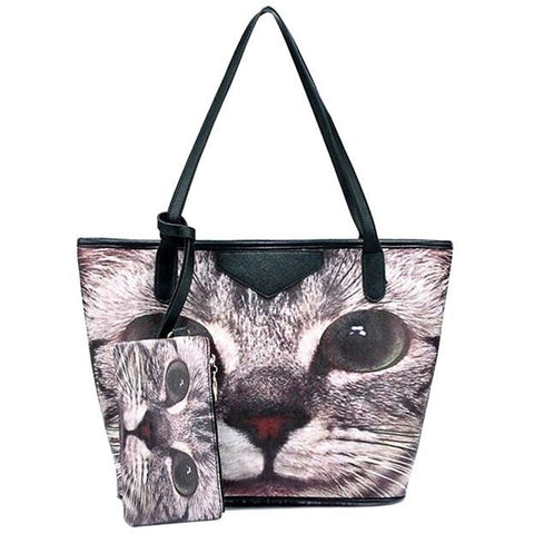 Cat Print Big Tote  Bag and Pouch - Sweety Cats Boutique - 1