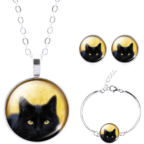 Black Cat Lover Glass Jewelry set - Sweety Cats Boutique - 1