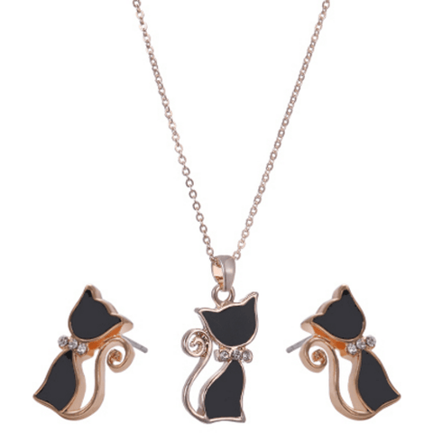 Cat Jewelry Set Necklace and Earrings with Rhinestones - Sweety Cats Boutique - 1