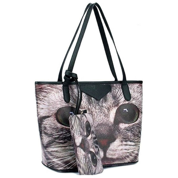 Cat Print Big Tote  Bag and Pouch - Sweety Cats Boutique - 2