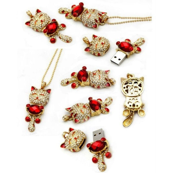 Cat USB Flash Drive Crystal Necklace - Sweety Cats Boutique - 2