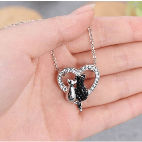 Black and White Cats Rhinestone Necklace - Sweety Cats Boutique - 3