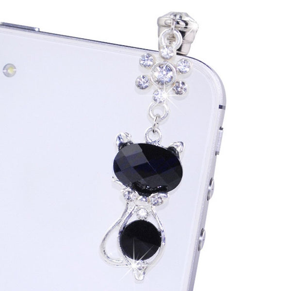 Very Cute Crystal Cat Anti Dust decorative Plug, Mobilephone Cap for all Mobilephones - Sweety Cats Boutique - 4